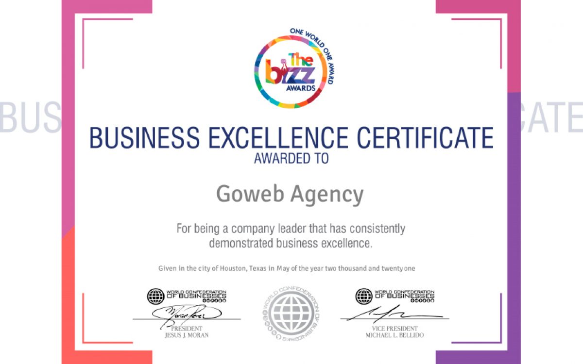 Goweb Agency distinguished by WOBCOB in Business Excellence