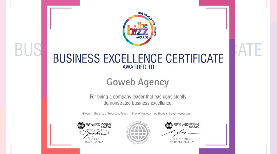 Goweb Agency distinguida pela WOBCOB em Excelência Empresarial